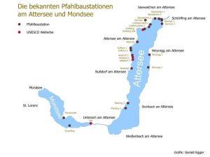 UNESCO Weltkulturerbe Pfahlbau im Salzkammergut, Karte mit den bekannten Fundstellen von Pfahlbauten am Attersee und Mondsee. UNESCO Welterbe Pfahlbaustationen am Attersee und Mondsee